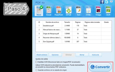 Empiece la conversión de PDF con un sólo clic