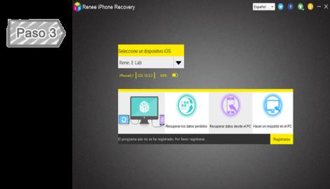 Seleccionar la función de recuperar datos iPhone