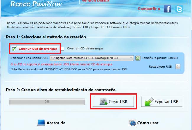 Instale el programa y cree un USB / CD booteable.