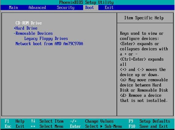 cambie el orden de arranque en la BIOS.