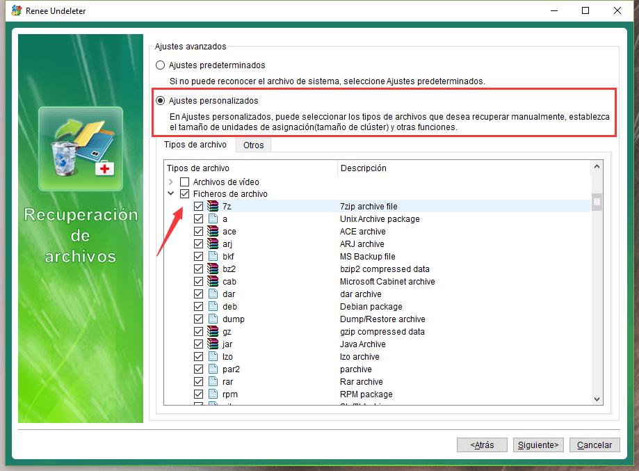 seleccionar los archivos comprimidos
