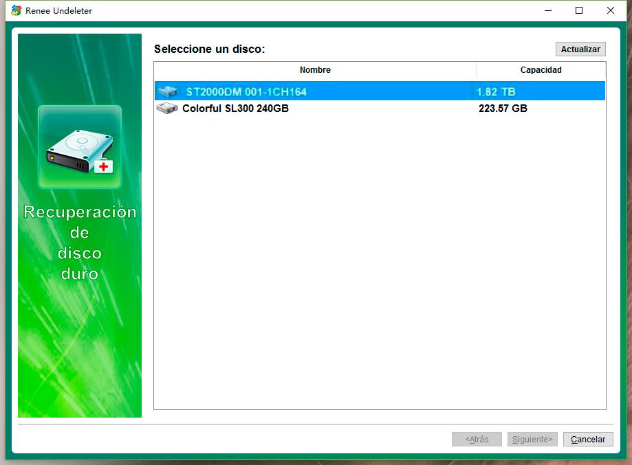 seleccionar el disco duro externo para escanear
