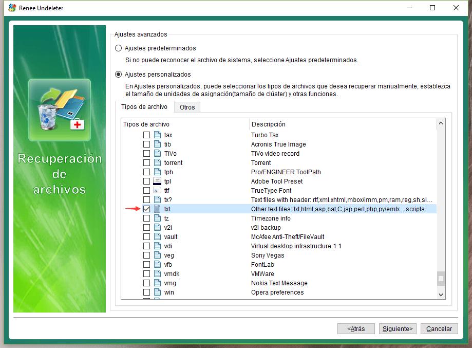 seleccionar los archivos txt