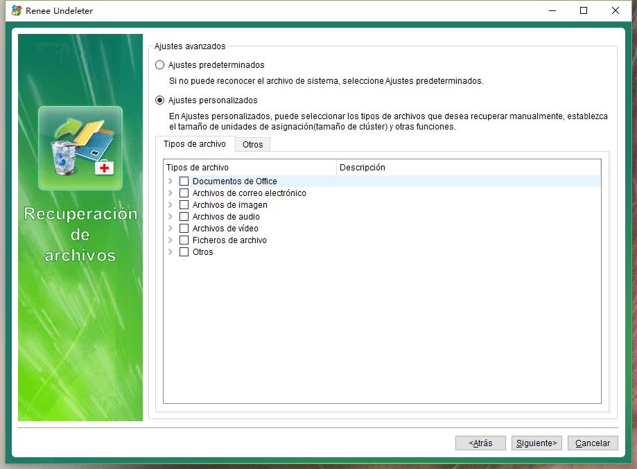 seleccionar los tipos de archivos deseados