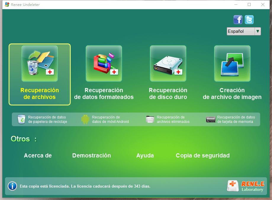 seleccionar recuperación de archivos