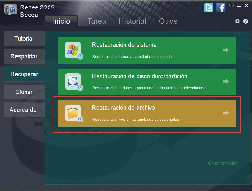 seleccionar la función de restauración de archivo