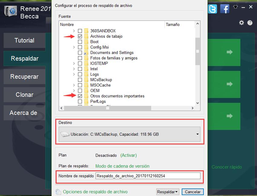 seleccioanr los archivos que desea respaldar