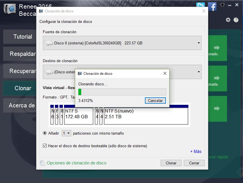 hacer clic en ¨Clonar¨ para empezar la clonación de disco duro