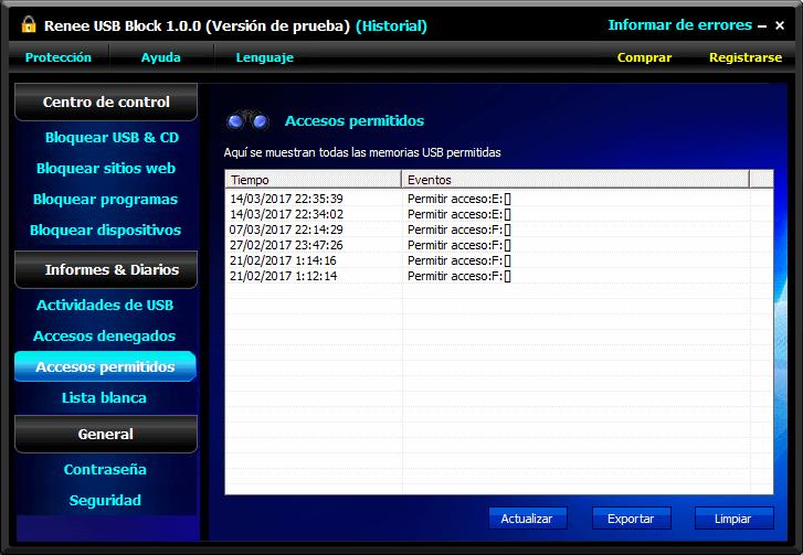 todos los registros de accesos permitidos y denegados
