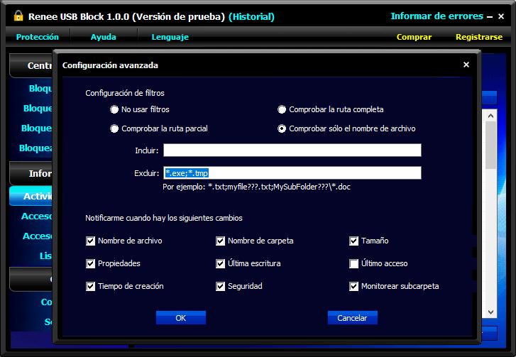 configurar qué tipos de operaciones se necesitan notar en el programa