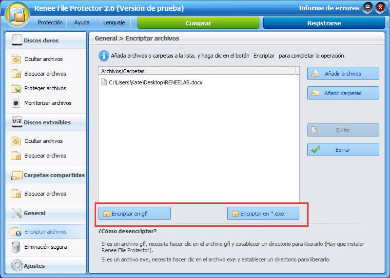 entre en General->Encriptar archivos para añadir los documentos que desea encriptar
