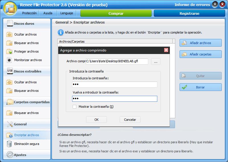 Necesita introducir una contraseña para el archivo creado