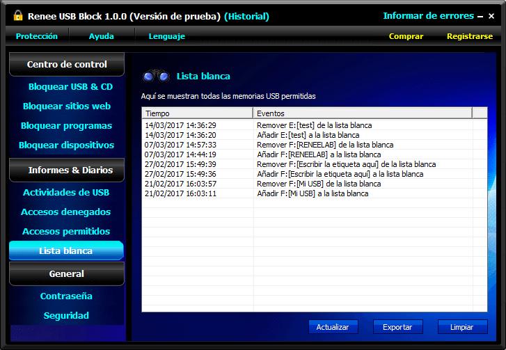 supervisar las modificaciones de la lista de los dispositivos USB que no se bloquean.