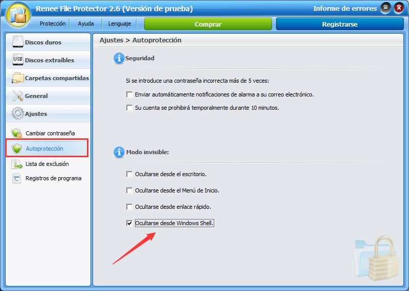configurar para que se oculte en los menús contextuales de Windows