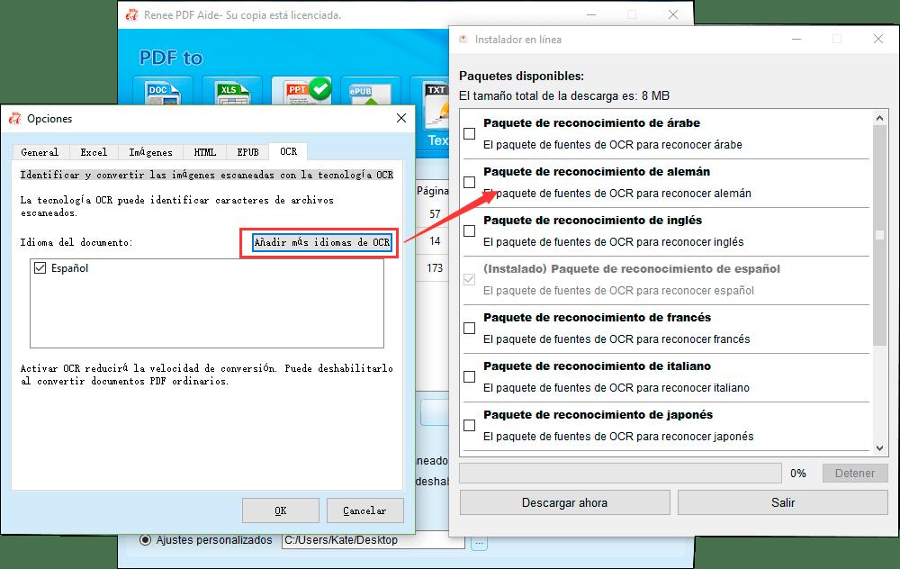 descargar el idioma de OCR correspondiente en Opciones->OCR