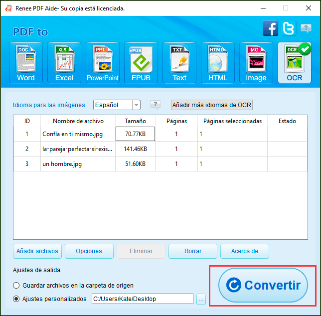 empezar la conversión haciendo clic en el botón