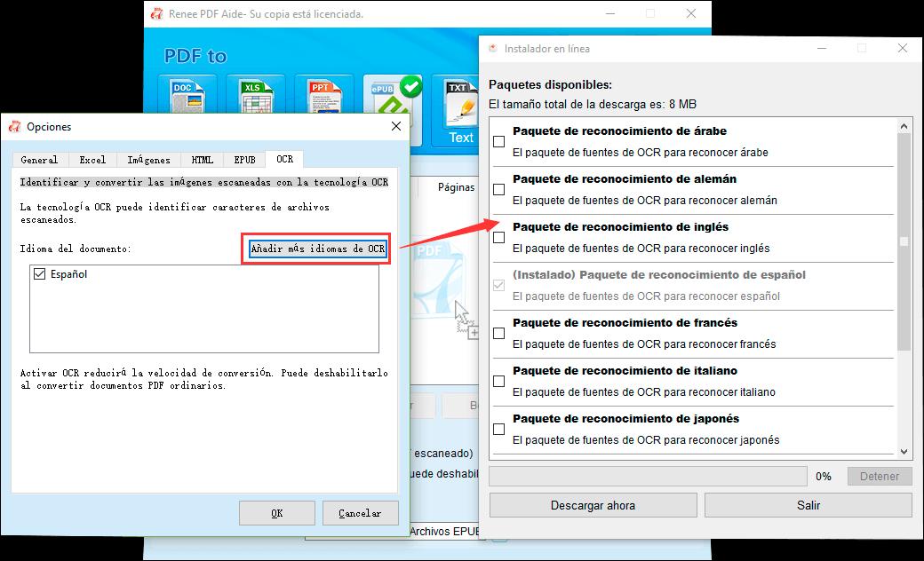 descargar paquetes de idiomas de OCR