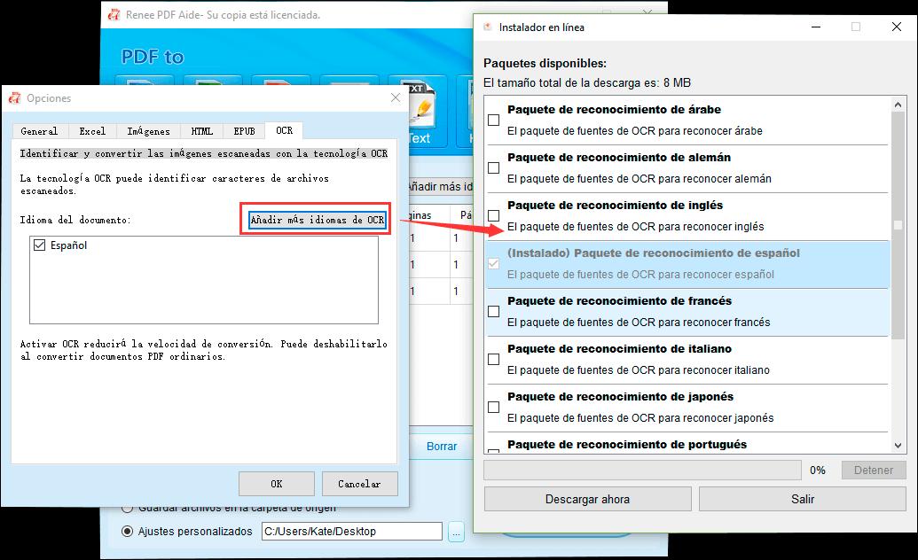 descargar paquetes de idiomas para el OCR