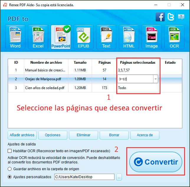 seleccionar las páginas de los archivos PDF que quiere convertir