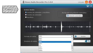 Seleccionar la fuente de audio y formato de salida