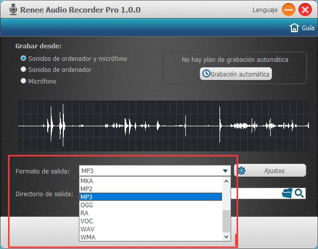 elegir el formato de salida preferido y una ubicación para el archivo de audio
