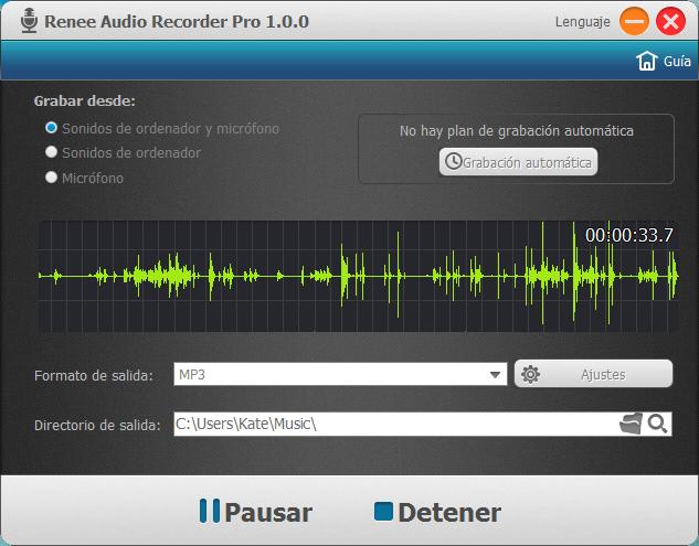 Puede pausar o detener la grabación en cualquier momento durante el proceso.