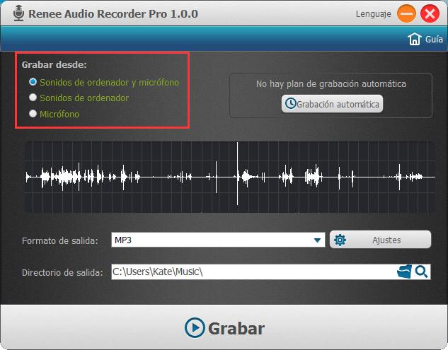 grabar el sonido de varias entradas de audio