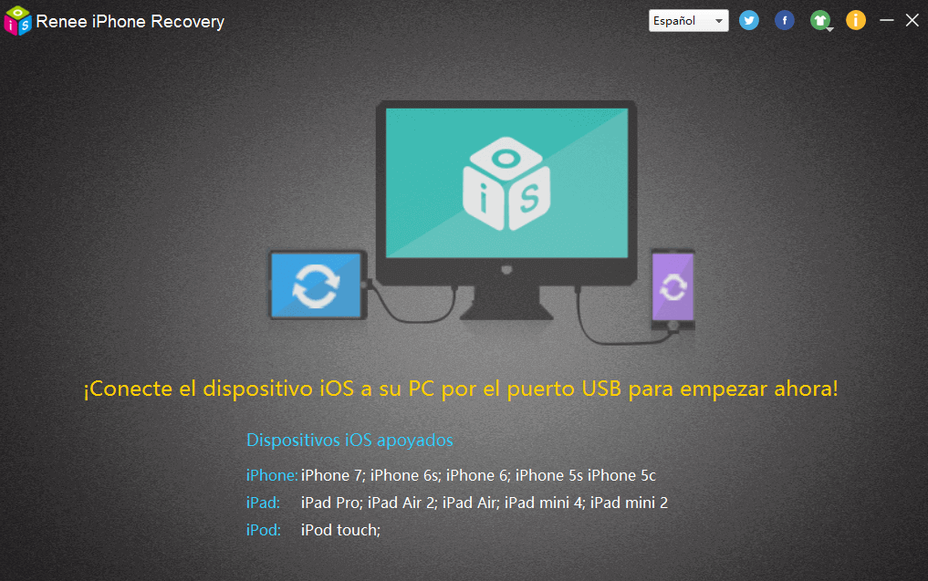 Inicie Renee iPhone Recovery y conecte su iPhone al PC