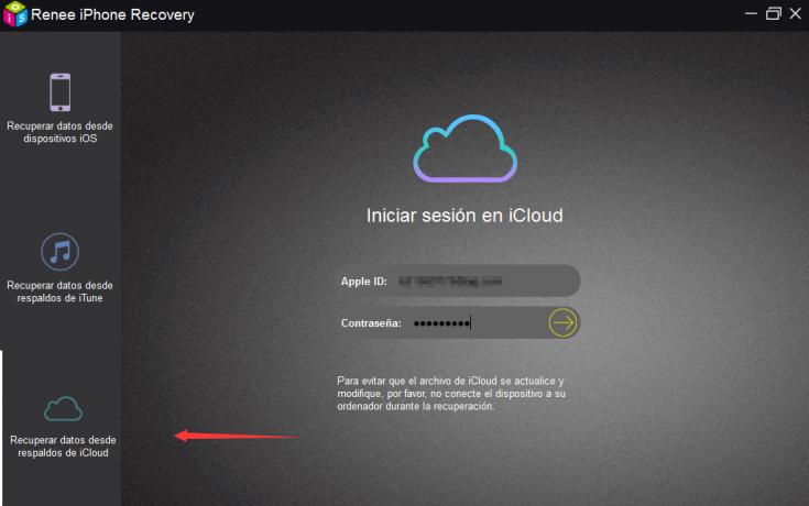 Haga clic en la opción ¨Recuperar datos desde respaldos de iCloud¨