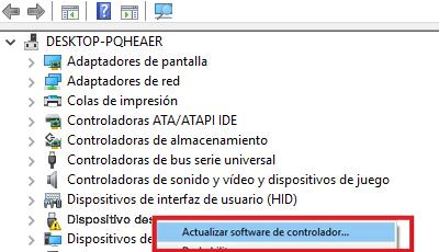 acualizar software de controlador