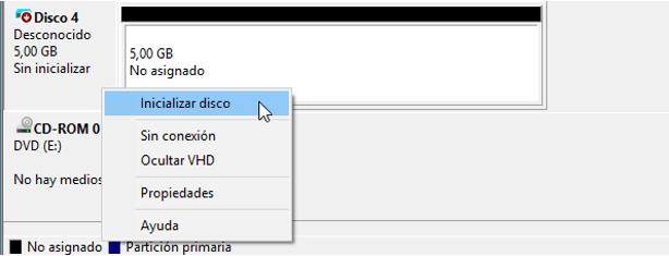 """seleccionar """"Inicializar disco """""""
