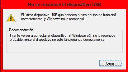 no se conoce el dispositivo USB