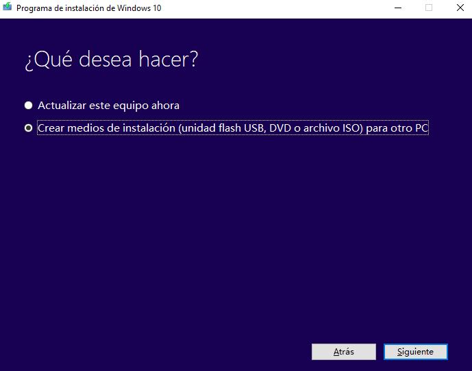 Crear medios de instalación (unidad flash USB, DVD o archivo ISO) para otro PC