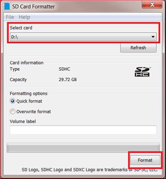 formatear tarjeta sd con Formatter