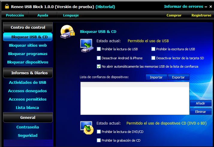 interfaz de Renee USB Block