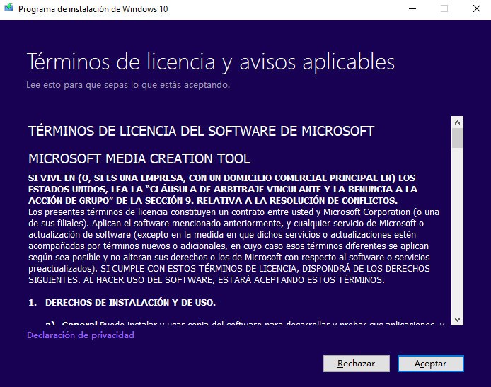 instalar windows 10 desde usb con Media Creation Tool