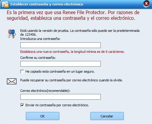 Renee File Protector establecer contraseña y correo electrónico