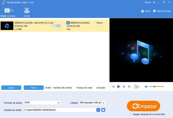 añadir archivos a renee audio tools