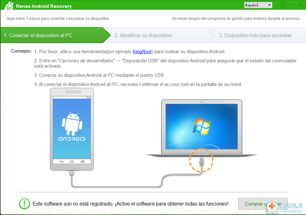 principai interfaz de Renee Android Recovery