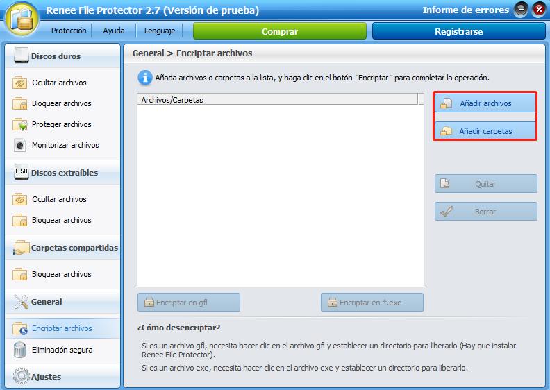 file protector añadir archivos