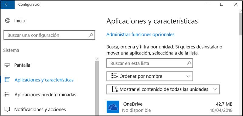 desinstalar software en aplicaciones y características
