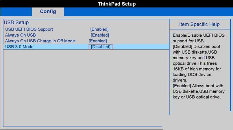Desactivar en la configuración USB