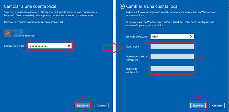 cambiar la cuenta de microsoft en cuenta local en windows 10