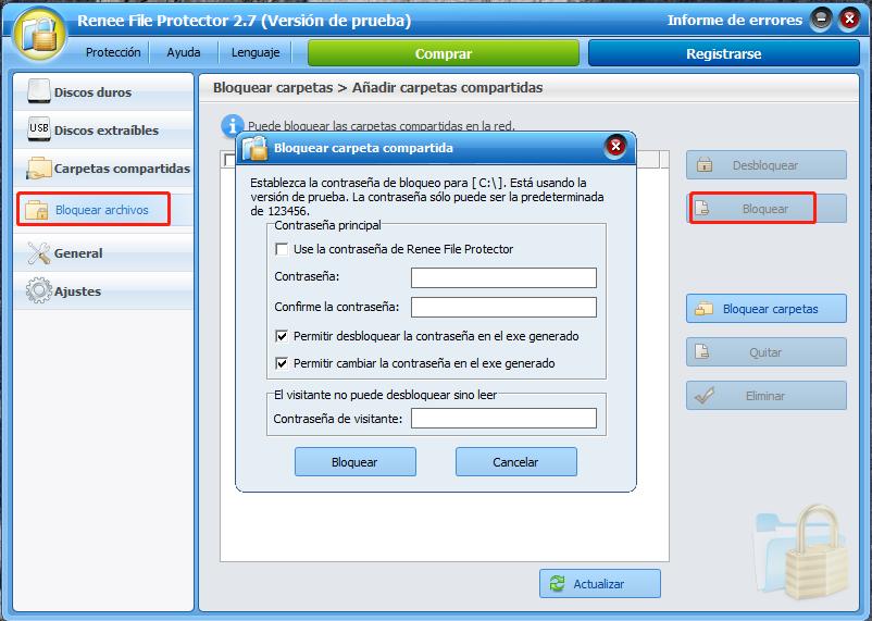 bloquear archivos compartidos en file protector