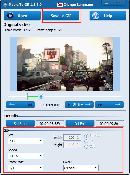 seleccionar save as gif en Movie To GIF
