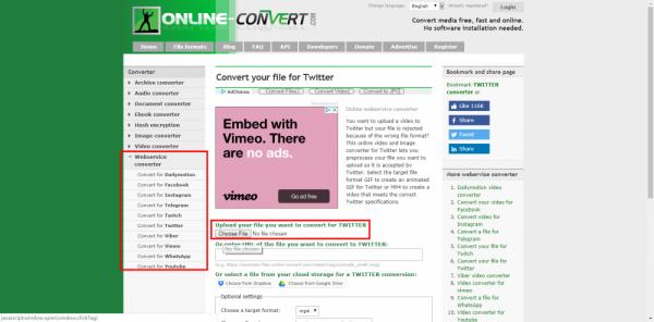 seleccionar archivo en Online webservice converter