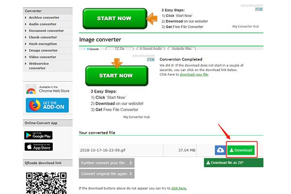 seleccionar descargar en Online webservice converter