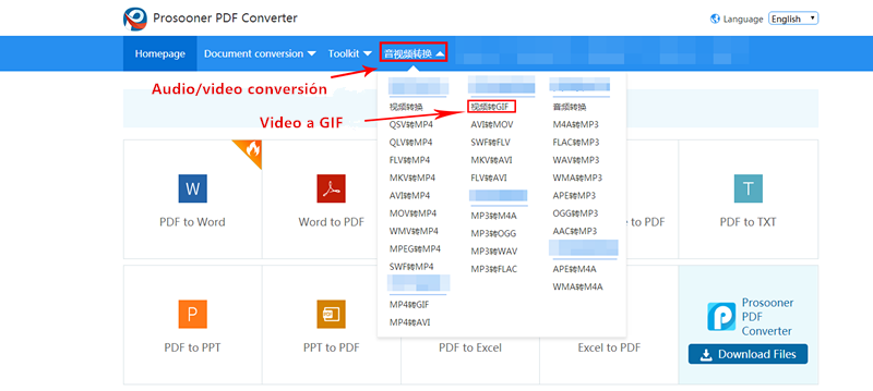 video a gif en Prosooner PDF Converter