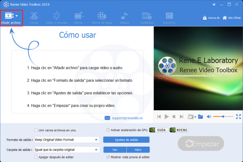añadir archivos de formato mts