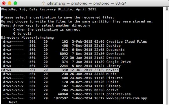recuperar datos con PhotoRec